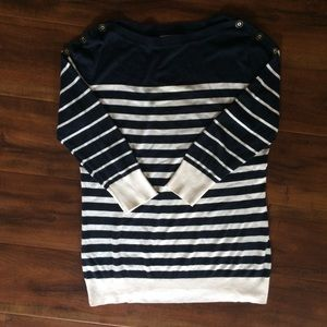 Navy and Off-White Striped Sweater w Button Detail